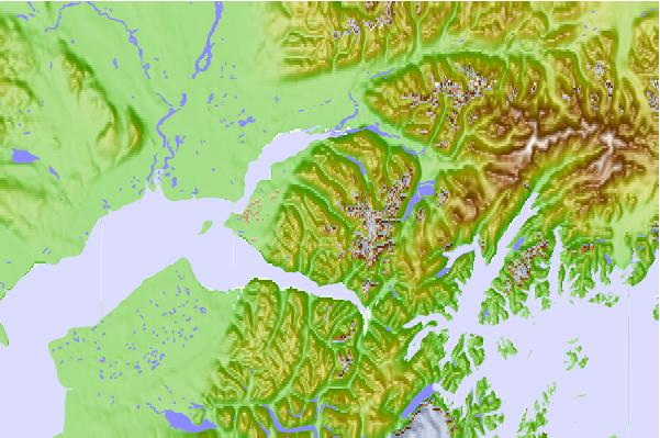 Surf breaks located close to Eagle Peak (Alaska)