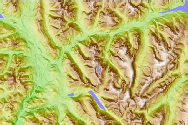 Surf breaks located close to Puzzle Mountain (Elk River Mountains)