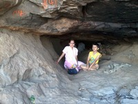 Dr. MALVIKA & Master KUBER  in the cave  where Lord Hanuman was born, Anjaneri photo