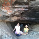 Dr. MALVIKA & Master KUBER  in the cave  where Lord Hanuman was born