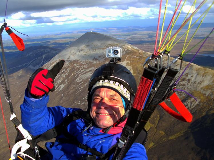 Paragliding XC flight at Croagh Patrick