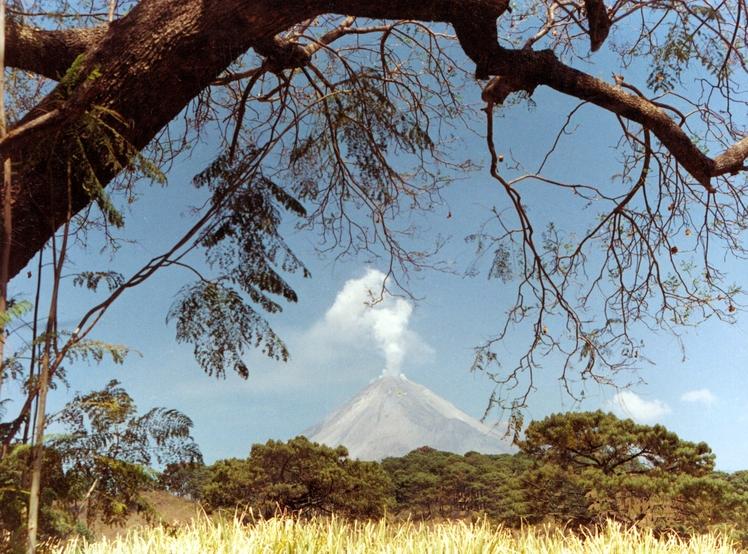 Fire Volcano and fumaroles El Colima, Nevado de Colima
