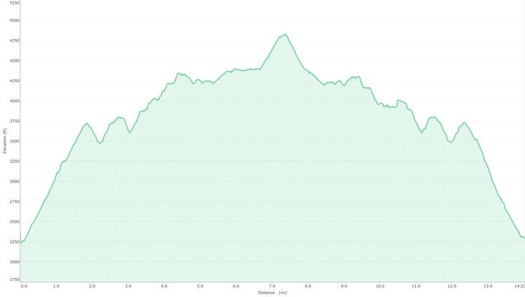 Brasstown Bald Via Arkaqua Trail Elevation Profile