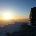 Sunrise over Snowdon Trig Point