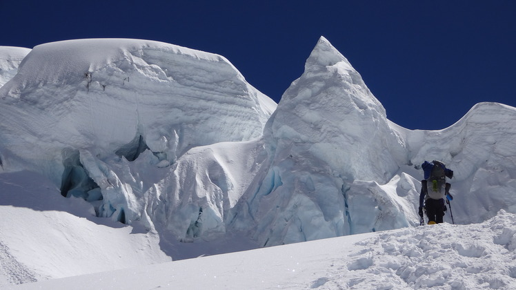 Chegando no Ice Cliff, Cho Oyu or Qowowuyag ( 卓奧有山)