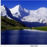 Rush Lake behind Polan La and Miar Peak, Rush Peak