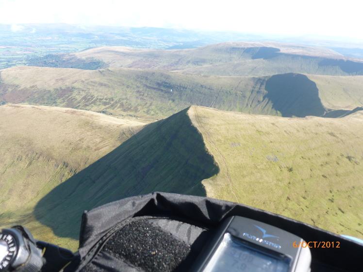 Paragliding above Pen y Fan, Cribyn