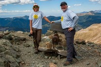 Cindy and Tom on the summit of Wheeler Peak, NM photo