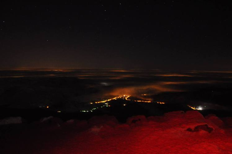 North view from the top at night, Babia Góra
