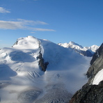 Strahlhorn (left) from the Hohlaubgrat