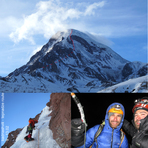 New route via Dragon's Wall in winter, Kazbek or Kasbek