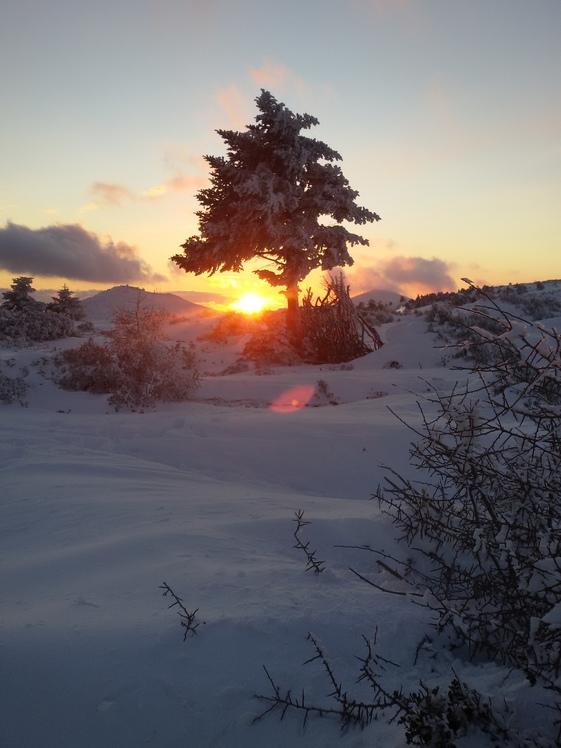 snow sunset, Parnitha