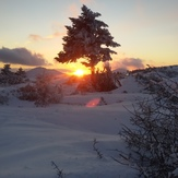 snow sunset, Parnitha