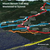 Map of Mount Benson from Westwood Lake to Summit, Mount Benson (British Columbia)