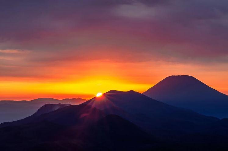 Sunrise over An'nupuri, Japan, Mount Mekunnai
