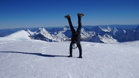 Handstand at the top of Huascaran Sur (6768m) photo