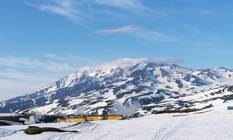 starting at the geothermal power plant, 11 km north of the canon, Mutnovsky