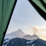 morning view out of my tent on Kamen (background) and fuming Bezymianny, Kamen (Kamchatka)