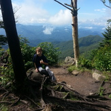 First hike, first earned hiking stick medallion., Waterrock Knob