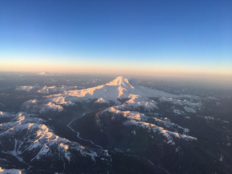 Mount Rainier from airplane