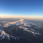 Mount Rainier from airplane
