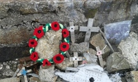 poppy wreath on summit, Arenig Fawr photo