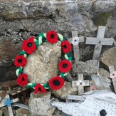 poppy wreath on summit, Arenig Fawr