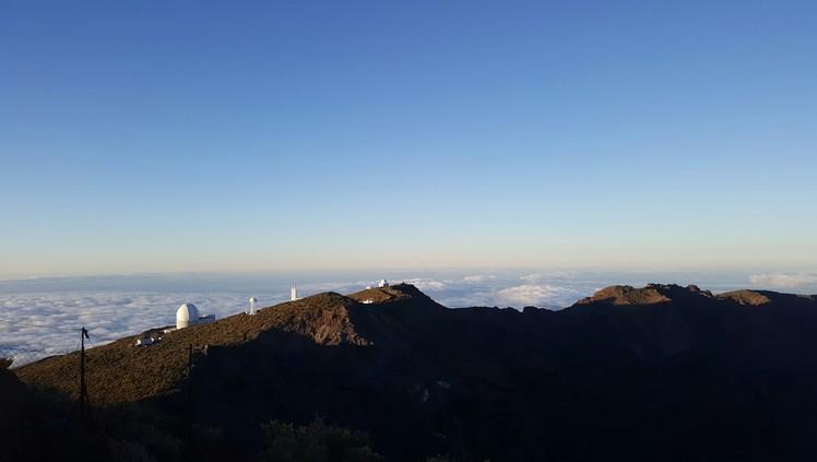 telescopes close to the crate, Roque de los Muchachos