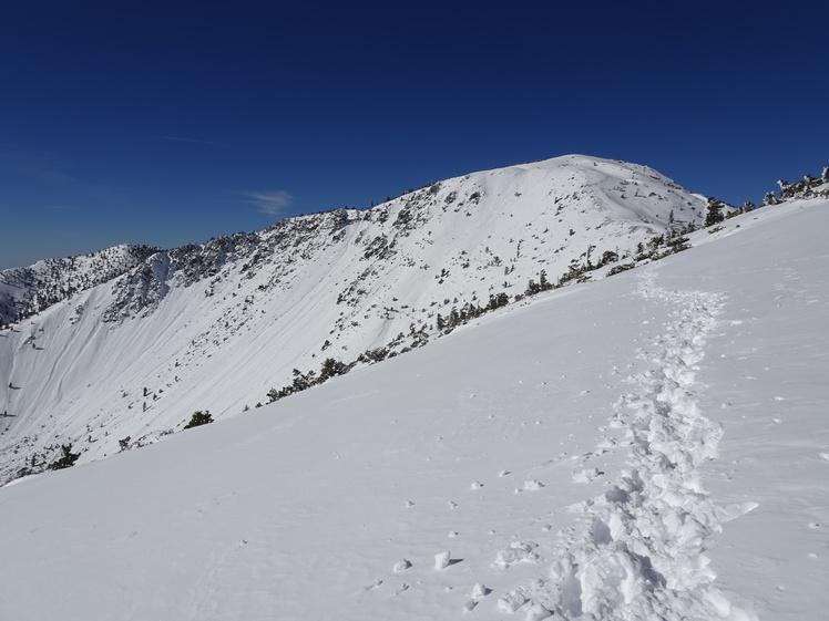 Marching toward Baldy, Mount Baldy (San Gabriel Range)