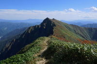 twin peaks of Tanigawa dake in early autumn, Mount Tanigawa photo