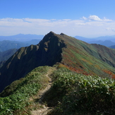 twin peaks of Tanigawa dake in early autumn, Mount Tanigawa