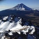 Summit Iztaccihuatl, backgroung the Popocatepetl