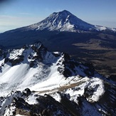Summit Iztaccihuatl, backgroung the Popocatepetl