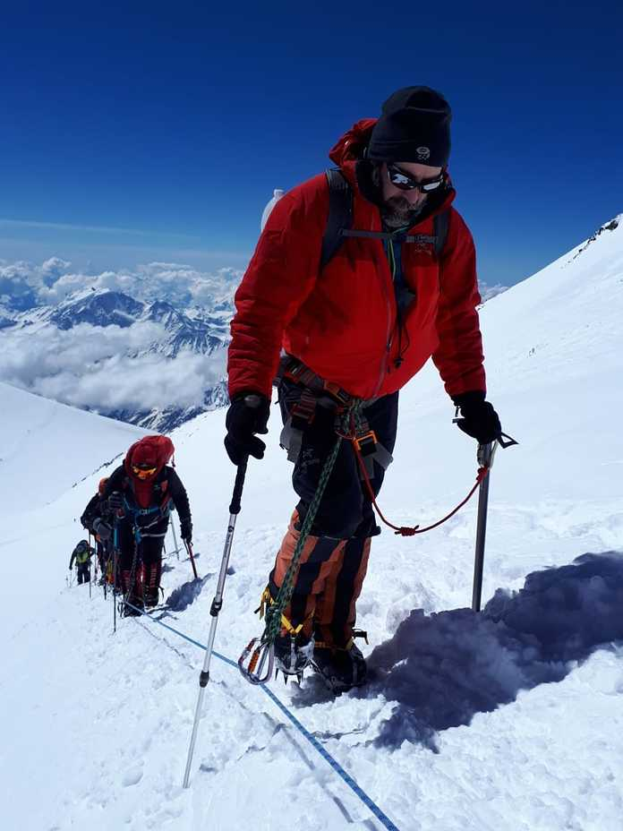 Up the fixed lines, Mount Elbrus
