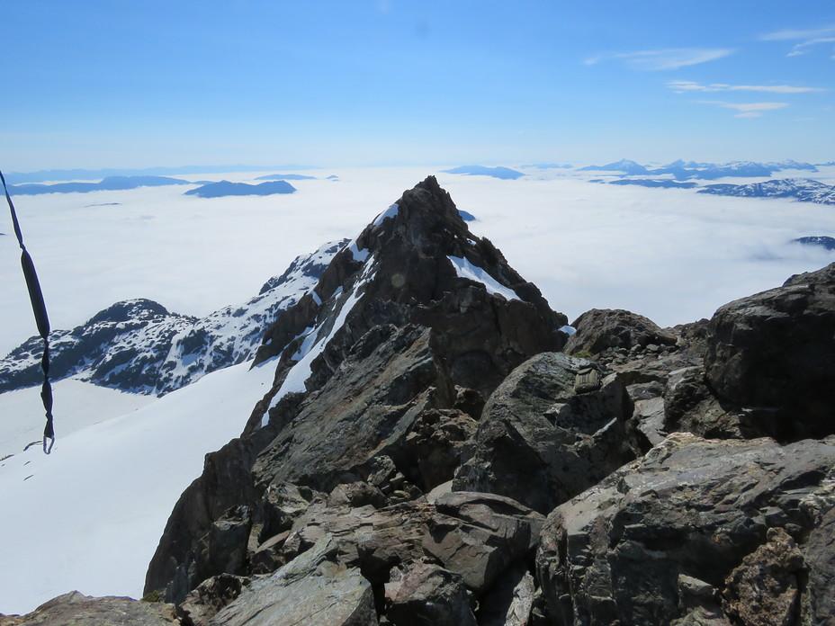 looking down the ridge from the summit of Nine Peaks