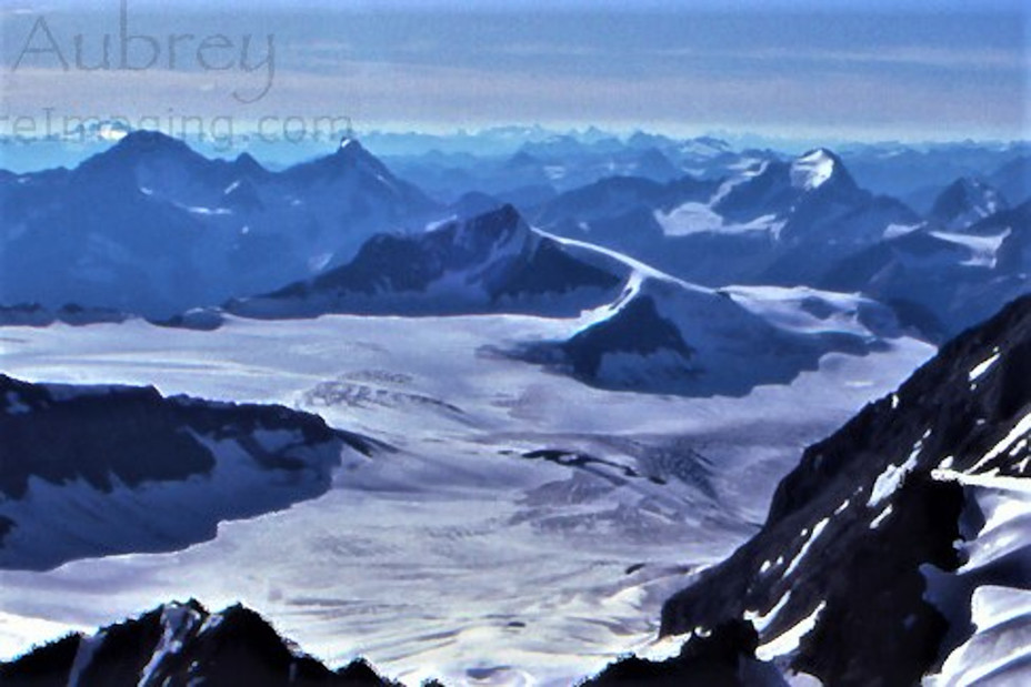 Mons Peak (centre) and the Mons Icefield from near Mt. Forbes' summit, Mount Forbes