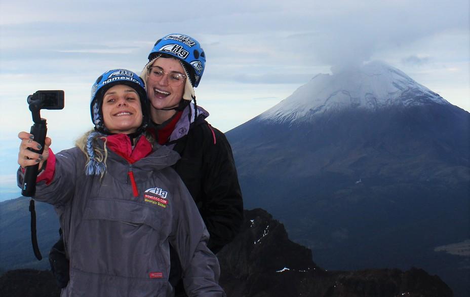 Selfie on Iztaccihuatl with Popocatepetl