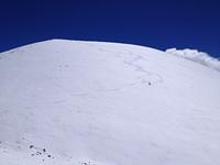 Snow surfing a cone near the summit, Mauna Kea photo