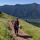 Tired, happy hikers, Dog Mountain