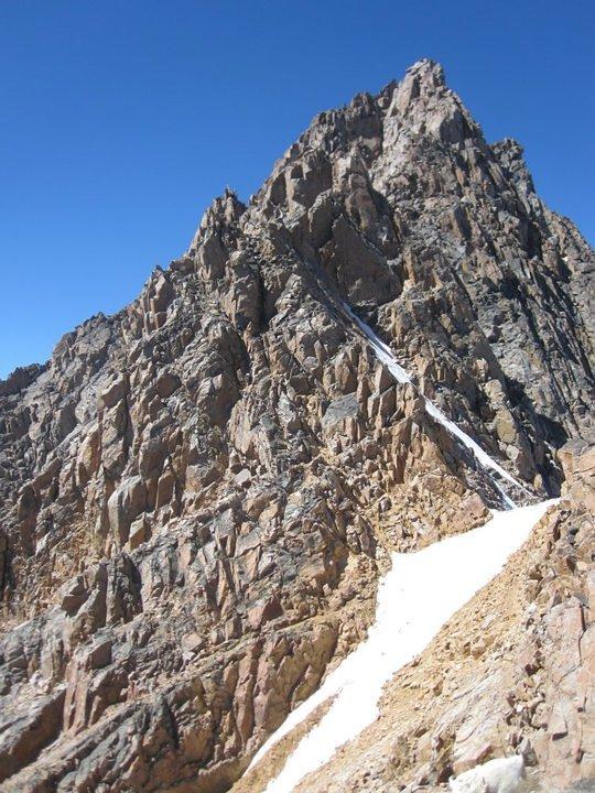 Before the snow bridge, Granite Peak (Montana)