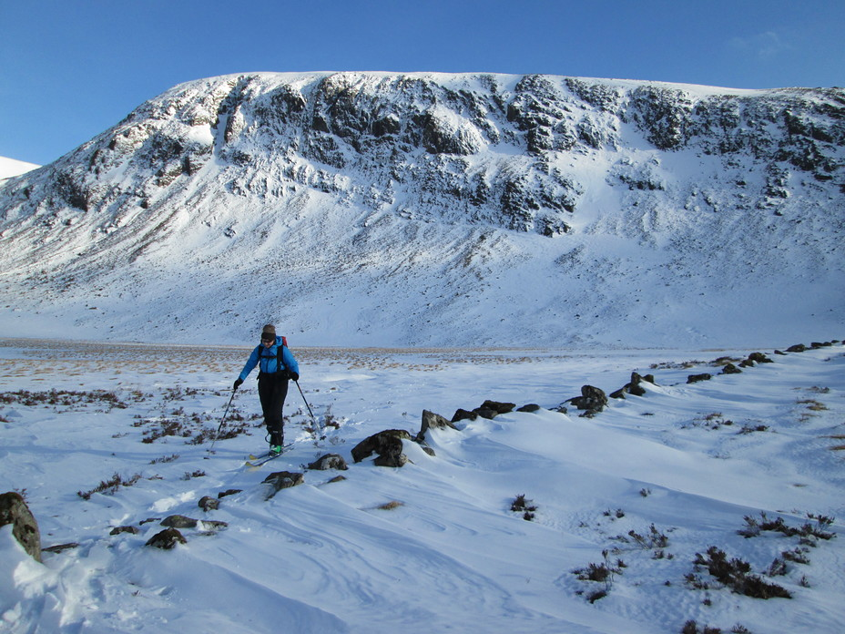 Skiing on the north side of the Merrick under the Black Gairy, Merrick, Galloway
