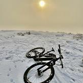 Snowy morning on top, Garth Mountain, Mynydd y Garth
