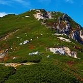空木岳山頂と駒峰ヒュッテ, Mount Kisokoma