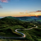 Light trails on the Serpentine Road, Mam Tor
