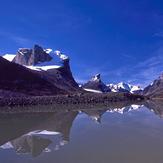 Summit Lake, at top of Akshayuk Pass, Mount Thor