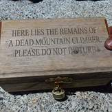 """""""Here lies the remains of a dead mountain climber."""" June 2012, Mount San Jacinto Peak"""