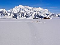 Mount Logan in back with Icefield Discovery camp photo