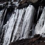 llegando a la cima del lanín catarata congelada, Volcan Lanin