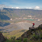 down to the crater base of Tambora