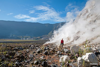 steam fumarole at the ground of Tambora, at 1.450m photo
